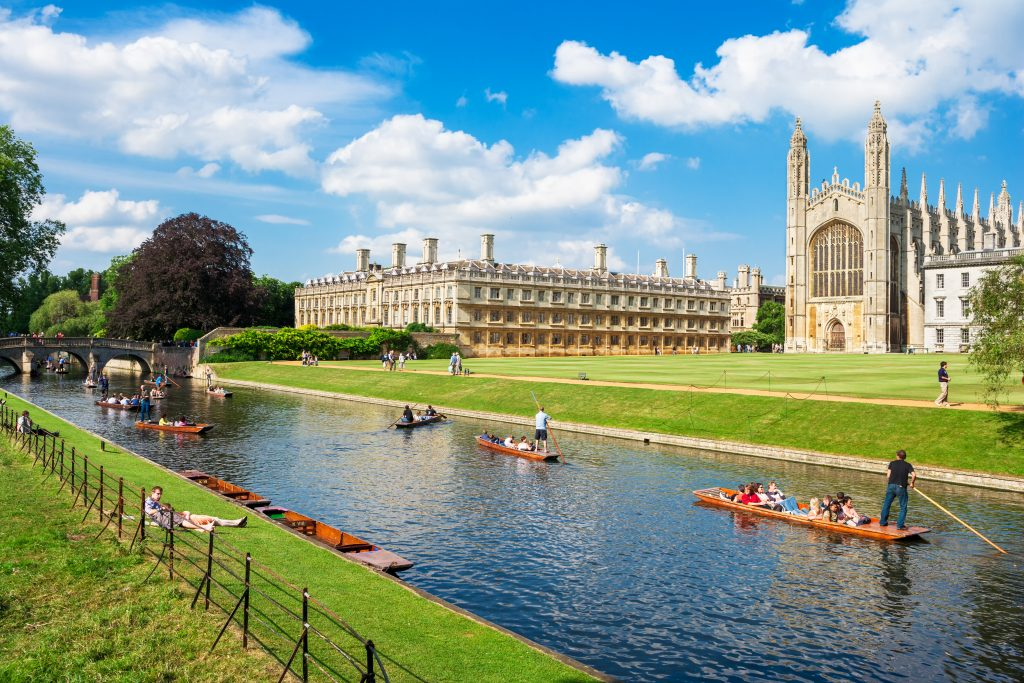 Kings College in the city of Cambridge, England