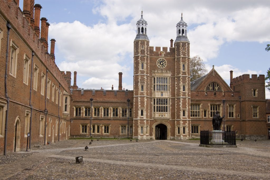 """""""The imposing quadrangle at the historic Eton College, Windsor, Berkshire.  Lupton's Tower in the centre dates from Tudor times."""""""